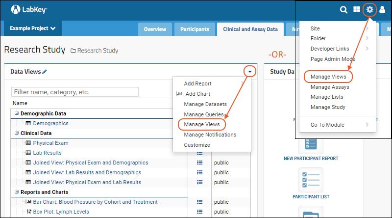 Manage Data Views: /Documentation