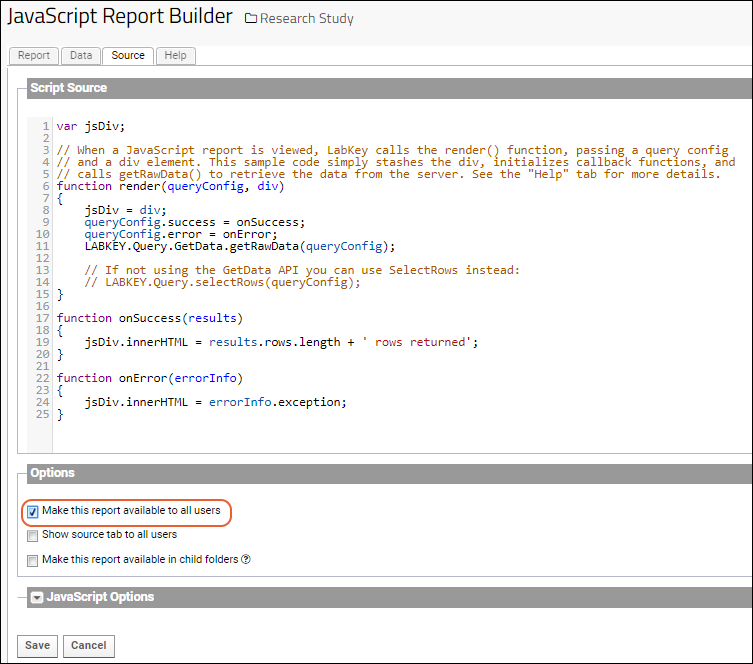Adding a Report to a Data Grid with JavaScript: /Documentation