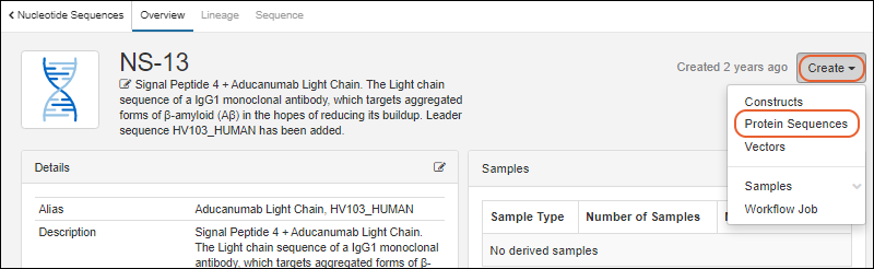 Biologics Tutorial: Add Sequences to the Registry