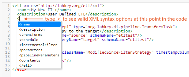ETL: Define an ETL Using XML: /Documentation